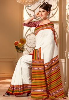 Off White Art-Silk Saree with Blouse @ $33.08