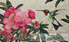 """Block 6: """"Val's Rhododendron"""" -Sandra Leichner, series quilt """"Naturalist Notebook""""; Naturalist Notebook; Ruby Throated Hummingbird and Rhododendron bush"""