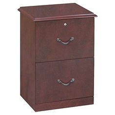 This two drawer vertical file cabinet features real wood veneer in a cherry finish and antique brass handles. File drawer accommodates letter size hanging files while the full extension glides allow for e Wooden File Cabinet, 2 Drawer File Cabinet, Mobile File Cabinet, Wood File, Wooden Cabinets, Solid Wood Desk, Home Office Furniture, Furniture Sale, Line Design