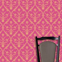 HICK'S MOGHUL Wallpaper. A beautiful floral motif encased in an elegant trellis combined with pretty tones makes this an all out stunning wallpaper. It was designed by David Hicks and is offered here in it's original colour-ways of bright pink with orange, grey with silver, beige with white and grey with indigo blue. Design Is Inspired By Everything.