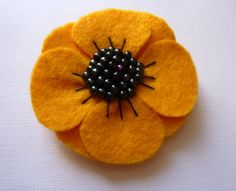 Beautiful Yellow Felt Fower Brooch by CreatedWithLoveuk on Etsy, £9.00