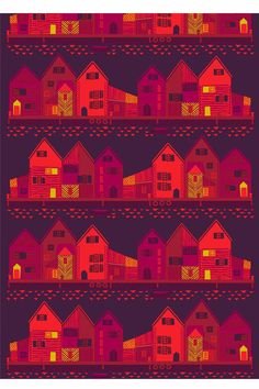 Vanhakaupunki fabric from Marimekko comes with a beautiful pattern of a city with fancy houses in the winter darkness. The Marimekko fabric comes In a green and a red color. Textures Patterns, Fabric Patterns, Print Patterns, Fun Patterns, Textile Design, Fabric Design, Pattern Design, Motifs Textiles, Marimekko Fabric
