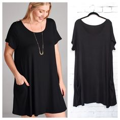 Black Dress has short sleeves and front side pockets, loose and comfortable, soft jersey fabric.