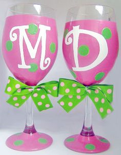 Our polka dot personalized wine glasses are fun to give and receive! Glass comes with removeable bow and is dishwasher safe, but we recommend hand washing.