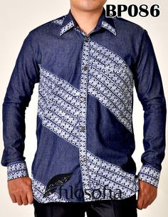 Batik and sof Denim the ultimate l look that can be takes from an extremely formal event to a laid back casual do African Inspired Clothing, African Clothing For Men, African Shirts, South African Fashion, African Fashion Ankara, African Wear Designs, Batik Fashion, African Attire, Menswear