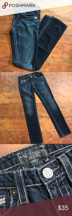 "Big Star Nico Jeans 27L Preloved  Big Star Nico Jeans Size 27 L  33"" inseam  Great condition! Big Star Jeans Straight Leg"
