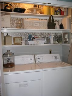 Wallpapered Laundry Room