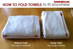 How To Fold Towels To Fit Any Shelf - Code Red Hat--I've been folding towels like I learned when I worked at BBB and they take up way to much space! The deep fold will be perfect for the bathroom :) Linen Closet Organization, Organization Hacks, Organizing Tips, Cleaning Hacks, Bathroom Towels, Bathroom Shelves, Organize Bathroom Closet, Bathroom Towel Storage, How To Organize Your Closet