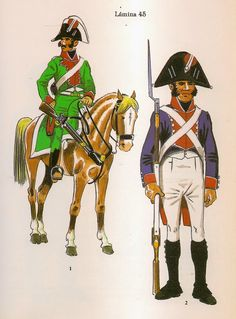 Spanish;National Militia, City of Madrid, Trooper of the  Cavalry Squadron & Fusilier of the Infantry Battalion 1812