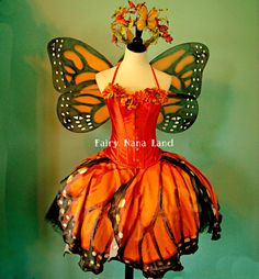 SPRING SALE - Monarch Butterfly Faerie Costume - adult size small - Corset - Butterfly Skirt - Tutu - Wings - Crown via Etsy
