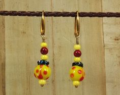 Earrings - Czech Glass Ladybug, Yellow, with Coral on Gold Ear-wires