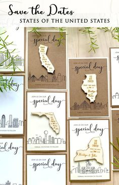 Magnets Save the Dates that you can choose a the Skyline on the card, which can be the city where you both met, and then, you can choose the magnet save the date with the state where you'll marry. Rustic Wedding Stationery, Laser Cut Wedding Invitations, Destination Wedding Invitations, Invites, Laser Cut Save The Dates, Rustic Wedding Save The Dates, Laser Cut Invitation, Destination Wedding Inspiration, Paper Goods