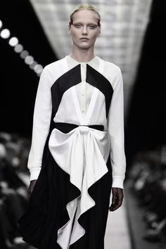 Black & White Fashion with graphic lines, big bow front and rippling edge detail; high contrast details // Givenchy FW14