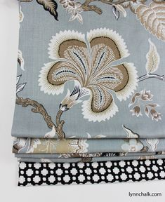Custom Roman Shade by Lynn Chalk in Hot House Flowers in Mineral with Border in Betwixt in Black and White