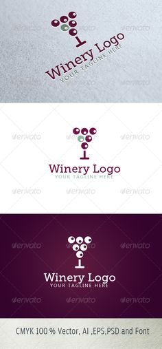 Winery Logo #GraphicRiver Logo Description: The logo is Easy to edit to your own company name.The logo is designed in vector for highly resizable and printing. The Logo Pack includes. 100% vector (re-sizable). Color mode: CMYK. AI file (for Illustrator CS or higher). EPS file (for Illustrator / Corel Draw / Freehand). Help document with download link of the font used. Please rate if you like it !! Created: 27September13 GraphicsFilesIncluded: PhotoshopPSD #TransparentPNG #JPGImage #VectorEPS…