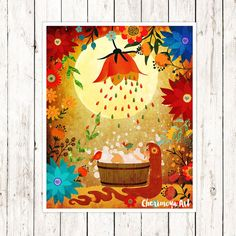 Girl Wall Art Woodland Nursery Print Girl by CherimoyaArt on Etsy