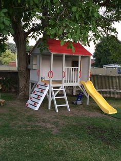 Kids Timber Cubby House - Hide & Seek Kids - Brisbane based - Kids Rule our World! Afterpay Available - Big Range - Family Business Backyard Swing Sets, Kids Backyard Playground, Backyard For Kids, Backyard Projects, Kids Cubby Houses, Kids Cubbies, Play Houses, Amusement Enfants, Kids Play Equipment