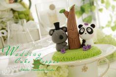 LOVE ANGELS Wedding Cake Topper-love Koala and Panda  with tree. $130.00, via Etsy.