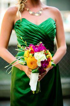 Emerald and Bright Gold Bouquet   Seattle Bride Magazine