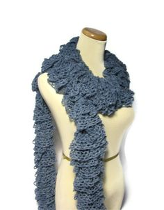 Hand Knit Ruffled Scarf  Blue by ArlenesBoutique on Etsy, $42.95