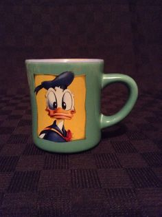 Rare Walt Disney Head Shot Donald Duck Green Blue Yellow Coffee Cup Mug #WaltDisney