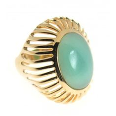 Niin Azteca Amazonite Cage Gold Plated Ring ❤ liked on Polyvore