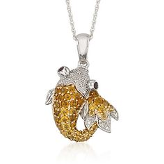 .90+ct.+t.w.+Citrine+Koi+Pendant+Necklace+With+Diamond+and+Garnets+in+Sterling+Silver.+18""