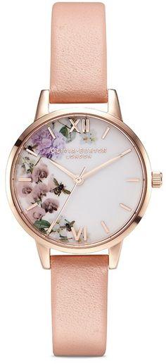 Olivia Burton 'Enchanted Garden' floral print 30mm watch