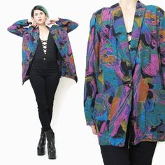 80s Colorful Blazer Abstract Print Blazer Slouchy by honeymoonmuse