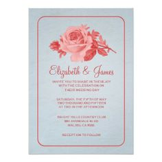 blue red rustic floral flower wedding invitations