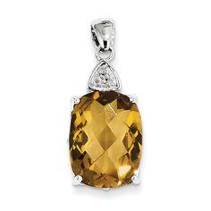 Sterling Silver Whiskey Quartz and Diamond Pendant