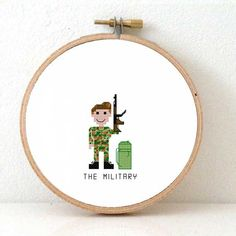 2 x Military cross stitch pattern. Male and Female Soldier. Gift for Military. Modern professions cross stitch designs for beginners