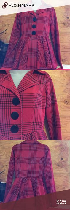 LA KITTY cute coat 60% Cotton 40% polyester nice dark red color. Pockets.  Nice bottom flare L.A. KITTY Jackets & Coats Blazers