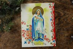 Vintage Christmas Card Embossed With Gold Trim ~ Unused ~ 1940's by smileitsvintage on Etsy