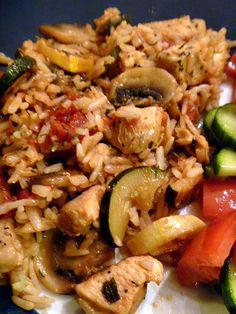 Mediterranean Chicken...rice, chicken, zucchini, mushrooms and tomatoes
