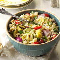 Farmer's Market Orzo Salad Recipe -Orzo is a tiny pasta shaped like rice. We like to use it as a base for veggies lemony vinaigrette and cheeses like mozzarella feta or smoked Gouda. Summer Pasta Recipes, Orzo Salad Recipes, Spring Recipes, Pasta Salad, Low Carb Dinner Recipes, Cooking Recipes, Healthy Recipes, Grilling Recipes, Chilli Recipes