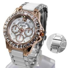 FW830AC New Shiny Silver Band Rose Gold Tone Watchcase White Dial Bracelet Watch