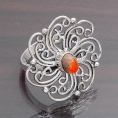 EXCLUSIVE 925 STERLING SILVER MEXICAN FIRE OPAL RING 5.51g DJR4393 #Handmade #Ring