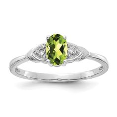 I1 clarity, G-I color Jewelry Adviser Rings 14k White Gold Diamond and Peridot Square Ring Diamond quality AA