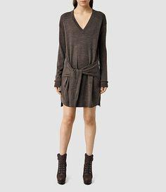 Femmes Tricot V-neck Dress (Slate Black) -