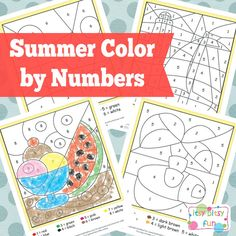 Free Printable Summer Color by Numbers Worksheets. Love this as a fun way to recognize numbers. Preschool Activities, Kids Learning, Preschool Printables, Learning Spanish, Coloring For Kids, Coloring Pages, Preschool Colors, Color By Numbers, Simple Math