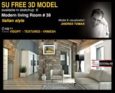 Texture seamless, Sketchup models, vray, podium and photoshop tutorials, resources trends Architecture and Interior Design Sketchup Free, Sketchup Model, Vray Tutorials, Photoshop Tutorial, Italian Style, Texture, Living Room, Interior Design, Architecture