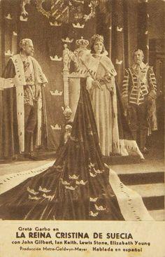 """Programa de mano de cine de la película """"La reina de Suecia"""", estrenada en España en el año 1933"""