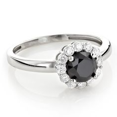 White and Black Diamond Engagement Ring Halo Design 1 1/2ct 14K Gold