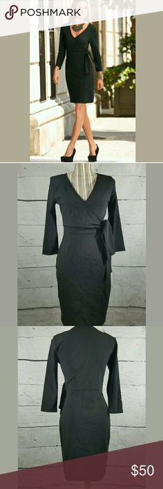 Boston Proper Long Sleeve Faux Wrap Dress Boston Proper Long Sleeve Faux Wrap Dress Black Size 4  Excellent used condition.   17 pit to pit.  39 inches long.   LB Boston Proper Dresses Long Sleeve