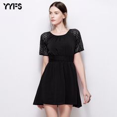 YYFS 2017 New fashion Summer Contrast Color Bodycon Dress Sexy Party Mini  lace Dress Women Sleeveless Eyelet Detai Dress 5214ee6f803f