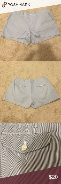 Ralph Lauren blue and white pinstriped shorts Ralph Lauren blue and white pinstripes shorts. EUC. Never hardly worn. Had pockets. The bottoms look distressed but that was how they were purchased. Size 8. 16 inch waist. 11.5 inches long. and 3 inch inseam. Make an offer. No trades. Ralph Lauren Shorts