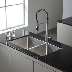 $379 KRAUS Undermount Stainless Steel 33 in. Double Bowl Kitchen Sink-KHU102-33 - The Home Depot