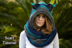 CROCHET PATTERN Cat Scarf Scoodie Hooded Scarf от WellRavelled