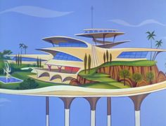 Googie houses on platforms in the sky. Because... nature needs the actual ground? Dunno.